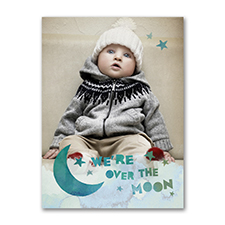 Over the Moon - Photo Birth Announcement